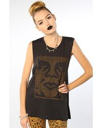 Obey  Cheetah Icon Face Muscle Tank - Lyst