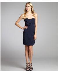 Aryn K. Navy Crepe Strapless Pleated Dress - Lyst