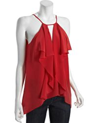 BCBGMAXAZRIA Red Berry Silk Claudia Cascading Ruffle Blouse - Lyst