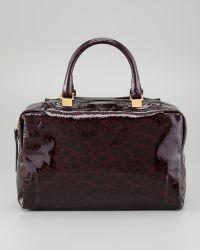 Lanvin - Animalprint Patent Leather Bowler Bag Plum - Lyst