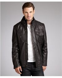 Marc New York Black Leather Zip Front Jacket - Lyst