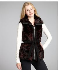 Miss Sixty Wine Faux Fur Zip Front Belted Vest - Lyst