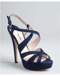 Miu Miu  Suede Strappy Platform Sandals - Lyst