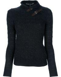 Ralph Lauren Black Label Strap Detail Sweater gray - Lyst