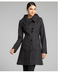 SOIA & KYO - Black Wool Blend Regina Asymmetrical Button Front Coat - Lyst
