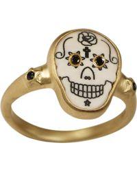 Me&Ro | Large Scrimshaw Skull Ring with Black Diamond Eyes | Lyst