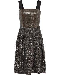 Reiss Strap Detail Gathered Skirt Dress silver - Lyst