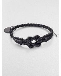 Bottega Veneta Intrecciato Knotted Leather Bracelet black - Lyst