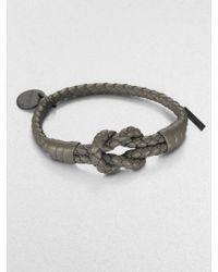 Bottega Veneta Intrecciato Knotted Leather Bracelet gray - Lyst