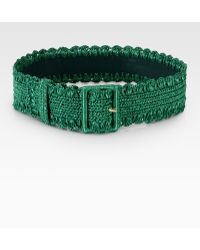 Dolce & Gabbana Raffia Belt green - Lyst