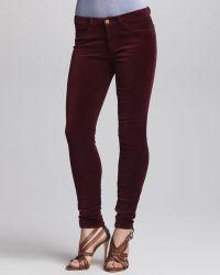 J Brand 801 Lava Midrise Velvet Skinny Pants - Lyst
