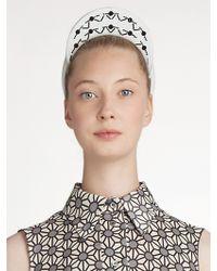Jil Sander Navy Embroidered Leather Headband - White