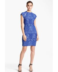 Yigal Azrouël Stretch Jacquard Dress blue - Lyst