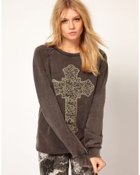 ASOS Collection | Sweatshirt with Spiral Baroque Cross | Lyst