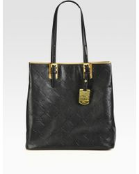 Longchamp Lm Cuir Stamped Leather North South Tote - Lyst