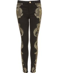 Moto Premium Embroidered Skinny Jeans - Lyst