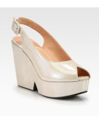 Robert Clergerie Dylane Metallic Suede Slingback Wedge Pumps - Lyst