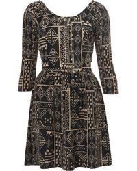 Topshop Aztec Wrap Back Flippy Dress - Lyst