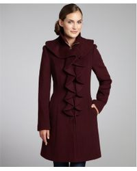 Elie Tahari Country Apple Stretch Wool Ruffle Front Lina Coat - Lyst