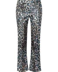 Meadham Kirchhoff Snappy Silkblend Brocade Straightleg Trousers - Metallic