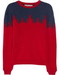 Preen By Thornton Bregazzi Merino Wool Intarsia Sweater red - Lyst
