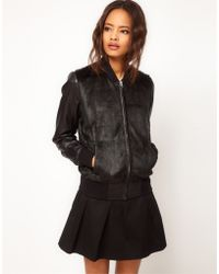 ASOS Collection Asos Leather and Fur Trim Bomber Jacket - Lyst