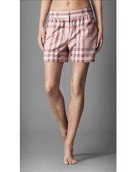 Burberry - Check Cotton Night Shorts - Lyst