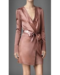 Burberry Stretch Silk Dressing Gown - Pink