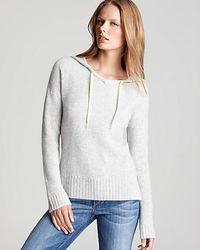 Ash Quotation Autumn Cashmere Sweater Honeycomb Stitch Hoodie - White