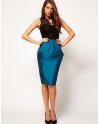 ASOS Collection Asos Pencil Skirt with Structured Detail - Lyst