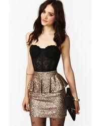 Nasty Gal Peplum Sequin Skirt gold - Lyst