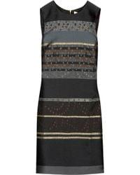 Victoria, Victoria Beckham Embroidered Satin Twill Mini Dress - Grey