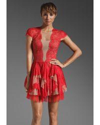 BCBGMAXAZRIA Ruffle Detail Mini Dress - Lyst