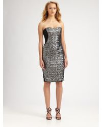Notte by Marchesa Strapless Sequined Dress - Lyst