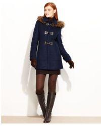 Calvin Klein Fauxfurtrim Hooded Toggle Duffle - Lyst