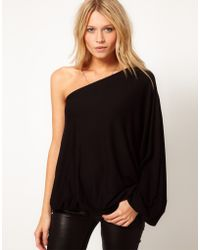Asos Top with One Shoulder Volume Sleeve - Lyst