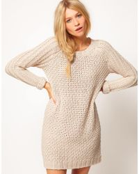 ASOS Collection Asos Textured Stitch Jumper Dress - Lyst