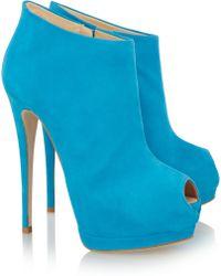 Giuseppe Zanotti Suede Peeptoe Platform Ankle Boots - Lyst