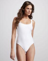 Oscar de la Renta Texturestripe Onepiece Swimsuit - Lyst