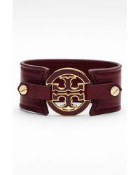 Tory Burch Logo Leather Bracelet - Lyst