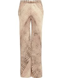 Willow - Crocprint Silk chiffon Wide-leg Trousers - Lyst