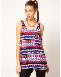 American Apparel Aztec Print Vest - Purple