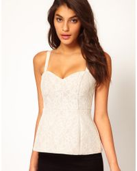 ASOS Collection Asos Corset with Exaggerated Peplum in Bonded Lace - Lyst