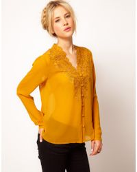 ASOS Collection Asos Blouse with Embroidery and Cutwork yellow - Lyst
