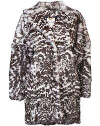 Kenzo Printed Fur Coat - Lyst