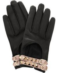 Valentino Rockstud Leather Gloves black - Lyst