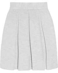 Markus Lupfer Pleated Cotton-Blend Jersey Mini Skirt - Lyst