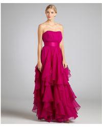 Notte by Marchesa Lipstick Silk Chiffon and Organza Strapless Evening Gown - Lyst