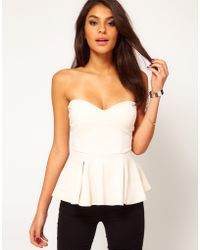 ASOS Collection Asos Strapless Top with Extreme Peplum - Lyst