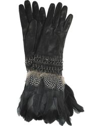 Alexander McQueen - Feathertrimmed Leather Gloves - Lyst